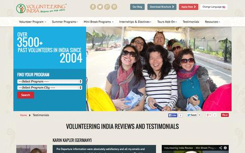 Screenshot of Testimonials Page volunteeringindia.com - Volunteering India Reviews, Feedback and Testimonials - captured Oct. 26, 2014