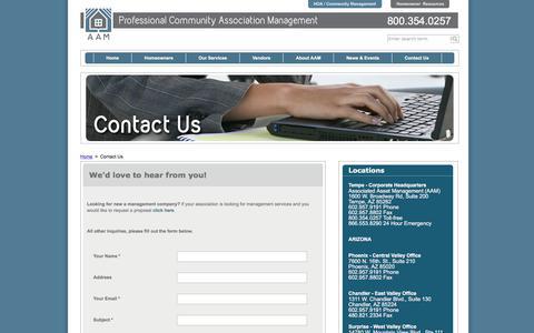 Screenshot of Contact Page associatedasset.com - HOA Association Management | Contact Us | AAM - captured Oct. 9, 2017
