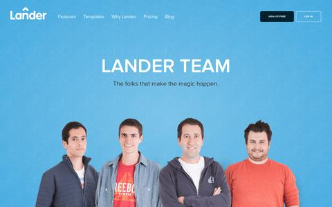 Screenshot of Team Page landerapp.com - Lander Team: The folks that make the magic happen - captured Dec. 17, 2014