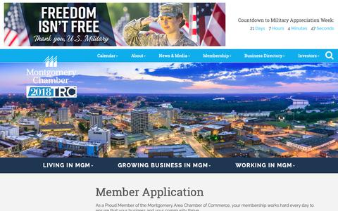 Screenshot of Signup Page montgomerychamber.com - Member - Montgomery Area Chamber of Commerce - AL, ALABAMA - captured Oct. 20, 2018