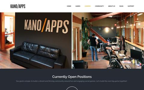 Screenshot of Jobs Page kanoapps.com - Careers «  Kano Apps - captured Jan. 9, 2016