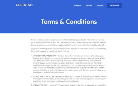 Screenshot of Terms Page ceridian.com - Ceridian Website Usage Terms Conditions - captured Feb. 12, 2018