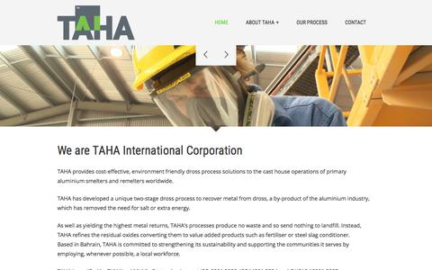 Screenshot of Home Page tahacorp.com - TAHA Dross Processing - Zero Waste - All Potential - captured Oct. 19, 2017
