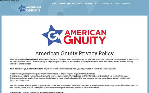 Screenshot of Privacy Page gnuity.com - American Gnuity Privacy Policy - captured Oct. 4, 2014