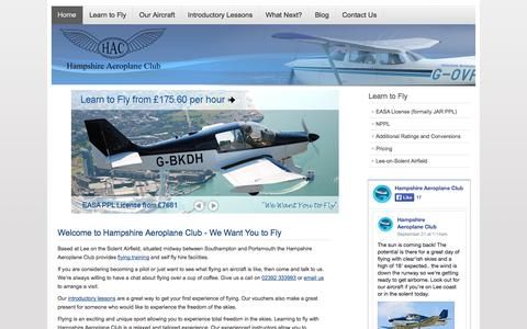 Screenshot of Home Page flyhac.co.uk - Home - Hampshire Aeroplane Club - captured Oct. 1, 2014