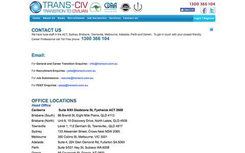Screenshot of Contact Page transciv.com.au - Trans-Civ Contact Information - captured Aug. 18, 2016
