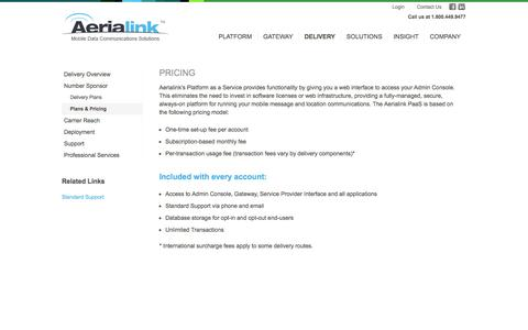 Screenshot of Pricing Page aerialink.com - Aerialink Delivery Plans & Pricing - captured Sept. 30, 2014