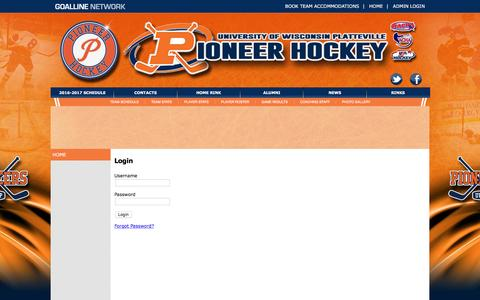 Screenshot of Login Page goalline.ca - University of Wisconsin-Platteville Hockey powered by GOALLINE.ca - captured March 3, 2017