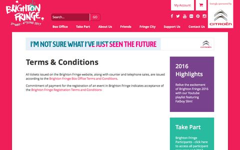 Screenshot of Terms Page brightonfringe.org - Terms & Conditions   Brighton Fringe - captured July 30, 2016