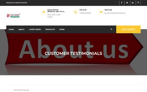 Screenshot of Testimonials Page datarefindustries.com - Customer Testimonials - Dataref Industries,India - captured Oct. 7, 2018