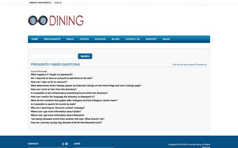 Screenshot of FAQ Page eyespydining.com - Eye Spy Dining - captured Sept. 30, 2014
