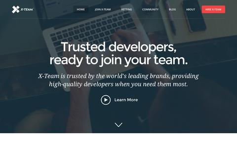 Screenshot of Home Page x-team.com - Trusted Developers, Ready to Join Your Team | X-Team - captured Dec. 5, 2015