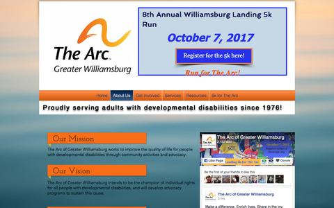 Screenshot of About Page thearcgw.org - The Arc of Greater Williamsburg | About Us - captured July 6, 2017