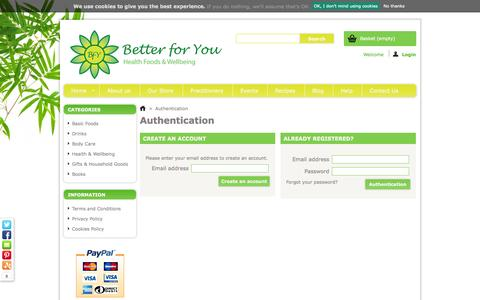 Screenshot of Login Page better-for-you.co.uk - Authentication - captured Oct. 5, 2014