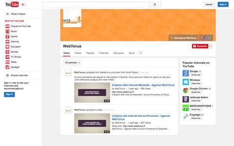 Screenshot of YouTube Page youtube.com - WebTonus  - YouTube - captured Oct. 25, 2014