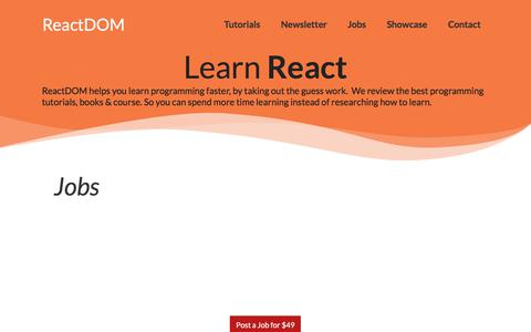 Screenshot of Jobs Page reactdom.com - React.js Jobs - captured Aug. 18, 2019