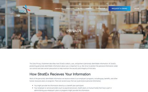 Screenshot of Privacy Page stratex.com - Privacy — StratEx HR for Restaurants - captured April 14, 2018