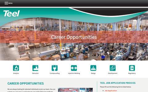 Screenshot of Jobs Page teel.com - Career Opportunities     Teel Plastics - captured Nov. 19, 2018