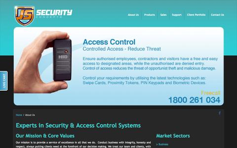 Screenshot of About Page jssecurity.com.au - Access Control Systems, CCTV Surveillance and Security Cameras – About JS Security - captured Feb. 11, 2016