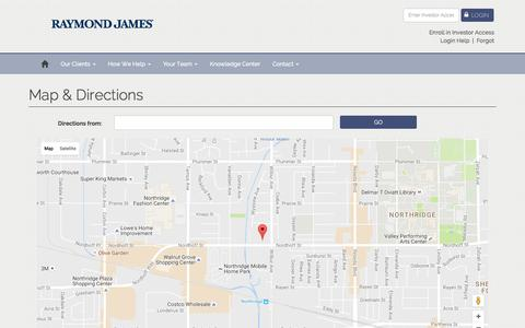 Screenshot of Maps & Directions Page raymondjames.com - | Raymond James | Northridge, CA - captured Nov. 18, 2016