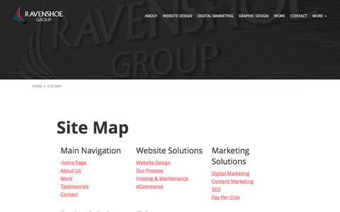 Screenshot of Site Map Page ravenshoegroup.com - Site Map | Ravenshoe Group - captured Oct. 30, 2019