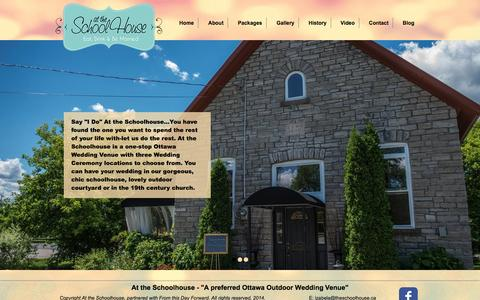 Screenshot of Home Page attheschoolhouse.ca - Ottawa Wedding Venue - captured Jan. 21, 2015