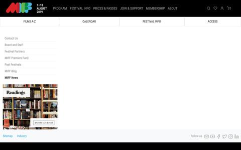 Screenshot of Press Page miff.com.au - MIFF News   MIFF 2019 - captured July 12, 2019