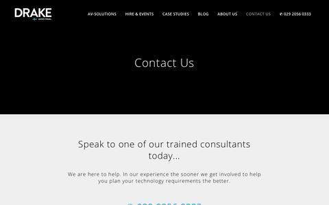 Screenshot of Contact Page drakeav.com - Contact Us - Drake Audio Solutions - captured Oct. 9, 2018