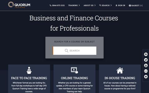 Screenshot of Home Page quorumtraining.co.uk - Accounting and Finance Courses - Quorum Training - captured Feb. 2, 2016