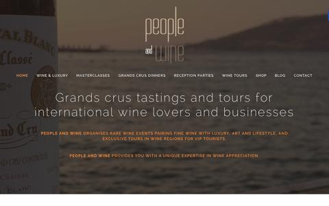 Screenshot of Home Page peopleandwine.com - People and Wine - Luxury Wine Tastings and Tours for Companies and VIP Tourists. Animations-Degustations Vin pour Entreprises et Touristes - captured July 16, 2015