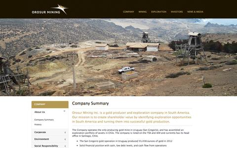Screenshot of About Page orosur.ca - Orosur Mining: Company Summary - captured Oct. 7, 2014