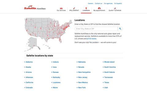 Screenshot of Locations Page safelite.com - Windshield Repair & Replacement Shops Near You | Safelite - captured Dec. 31, 2019
