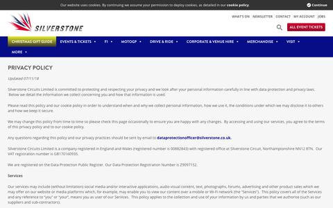 Screenshot of Privacy Page silverstone.co.uk - Privacy Policy - Silverstone - captured Nov. 8, 2019
