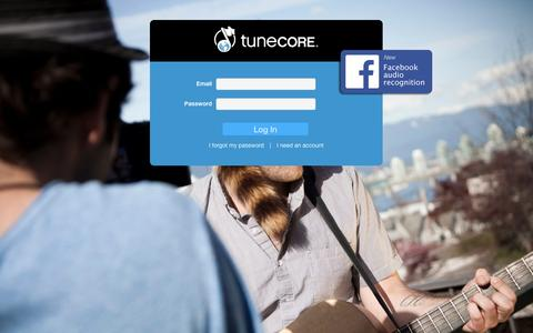 Screenshot of Login Page tunecore.com - Member Log-In | TuneCore - captured Sept. 13, 2014