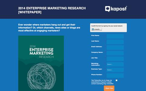 Screenshot of Landing Page kapost.com - 2014 Enterprise Marketing Research [Whitepaper] - captured March 14, 2016