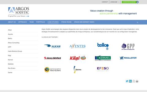 Screenshot of Case Studies Page argos-soditic.com - Etudes de cas   Argos Soditic - captured July 26, 2016