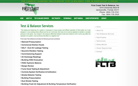 Screenshot of Services Page firstcoasttestandbalance.com - Test & Balance Services - captured Oct. 6, 2014