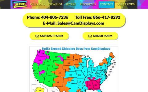 Screenshot of Contact Page camdisplays.com - CamDisplays - captured July 12, 2017