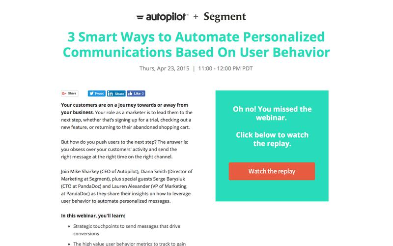 Automate Communications Based on User Behavior | Autopilot & Segment Webinar