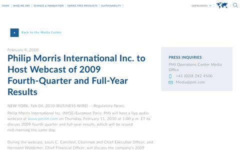 Screenshot of Press Page pmi.com - Philip Morris International Inc. to  Host Webcast of 2009 Fourth-Quarter and Full-Year Results - captured Nov. 1, 2018