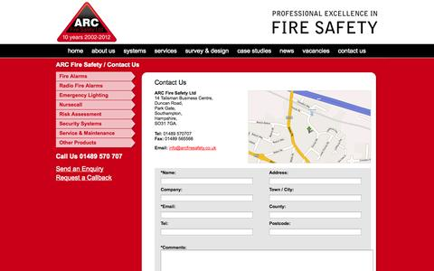 Screenshot of Contact Page arcfiresafety.co.uk - Contact ARC Fire Safety in Southampton, Hampshire - captured Oct. 4, 2014