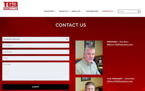 Screenshot of Contact Page tg3electronics.com - Contact Us - TG3 Electronics - captured March 26, 2019