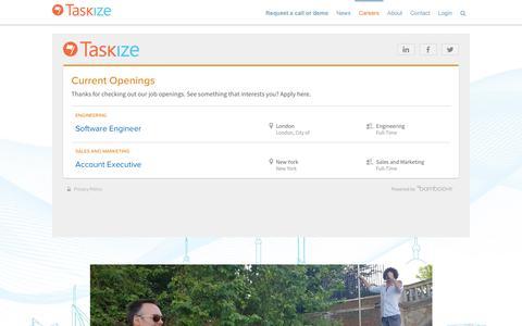 Screenshot of Jobs Page taskize.com - Hiring. | Taskize - captured Oct. 20, 2018