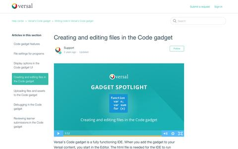 Screenshot of Support Page versal.com - Creating and editing files in the Code gadget – Help center - captured Dec. 3, 2019