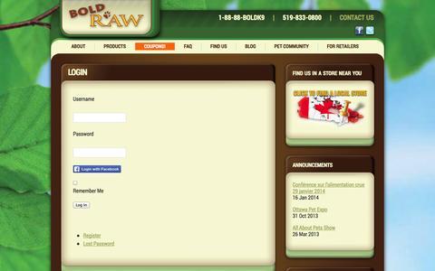 Screenshot of Login Page boldraw.com - Login - Bold Raw - captured Oct. 5, 2014