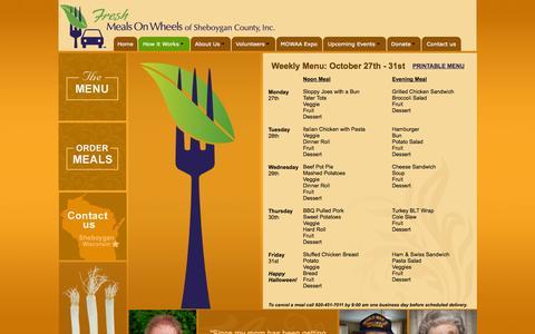 Screenshot of Menu Page freshmealsonwheels.org - Menu - captured Oct. 27, 2014