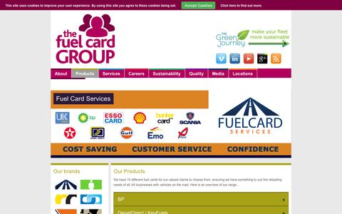 Screenshot of Products Page fuelcardgroup.com - Products | The Fuel Card Group - captured Sept. 30, 2014