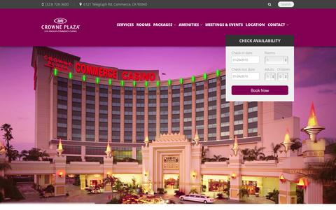 Screenshot of Home Page cpccla.com - Crowne Plaza Hotel at Commerce Casino Los Angeles - captured Jan. 23, 2015