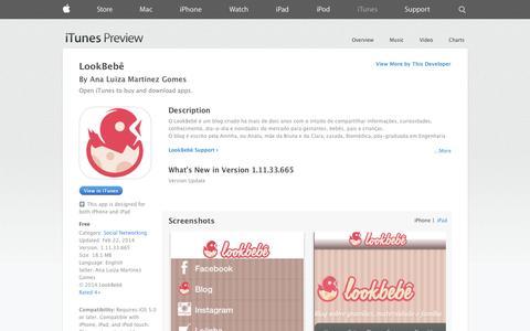 Screenshot of iOS App Page apple.com - LookBebê on the App Store on iTunes - captured Nov. 4, 2014
