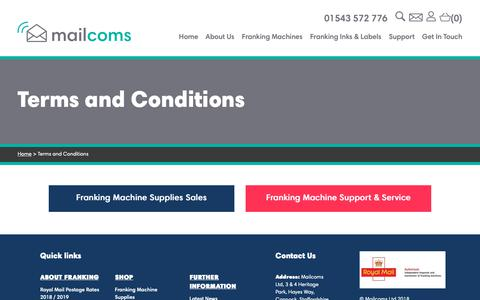 Screenshot of Terms Page mailcoms.co.uk - Terms and Conditions - - captured Sept. 27, 2018